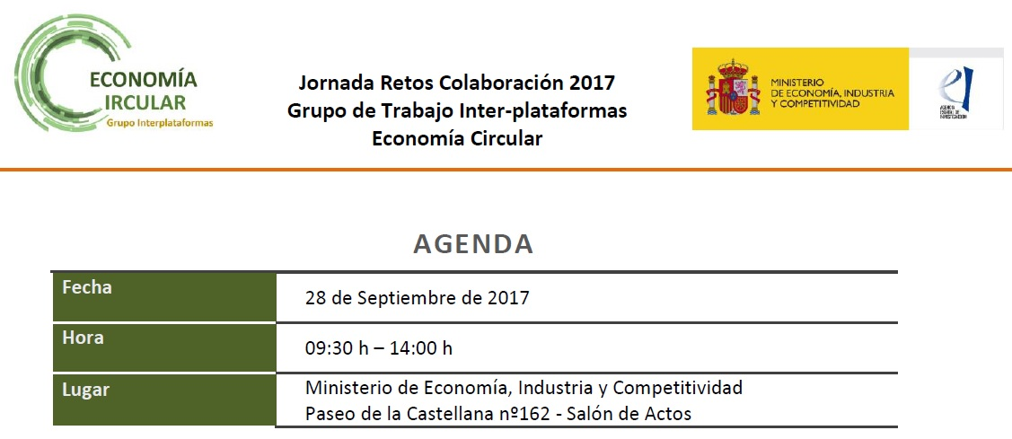 Jornada «ECONOMÍA CIRCULAR: Convocatoria RETOS COLABORACIÓN 2017»