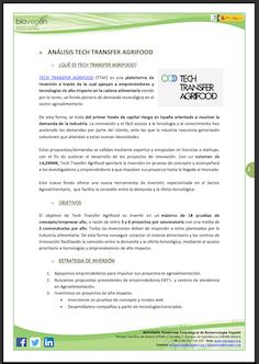 Informe BIOVEGEN. Convocatoria fondo TECH TRANSFER AGRIFOOD