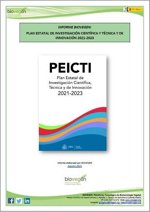 Informe BIOVEGEN. Resumen del Plan Estatal de Investigación Científica, Técnica y de Innovación (PEICTI) 2021-2023
