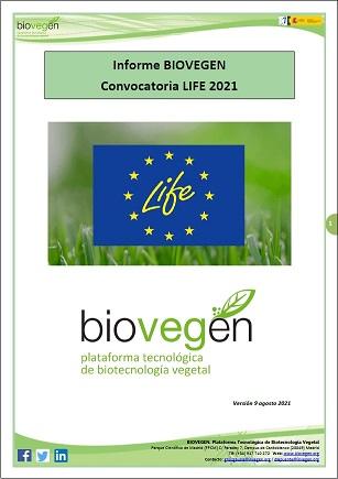 Informe BIOVEGEN. Convocatoria LIFE 2021