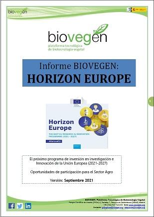 Informe BIOVEGEN. Programa Marco Horizonte Europa 2021-2027